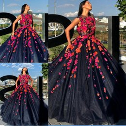 $enCountryForm.capitalKeyWord Australia - Sexy Navy 2019 Flower Prom Dresses Jewel Neck Appliqued Formal Evening Party Gowns Plus Size Special Occasion Dress
