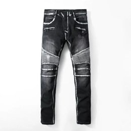 True slim jeans online shopping - Mens Pleated Washed Denim Pants TRUE Brand Jeans Hommes Slim Long Pants Pocket Design RELIGION Jeans Mens Black Biker PUNK Jeans