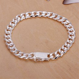 Money chains online shopping - 8MM side chain hand chain male money sterling silver plated bracelet Hot sale men and women silver bracelet SPB227