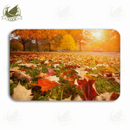 $enCountryForm.capitalKeyWord NZ - Vixm Yellow Orange And Red Autumn Leaves In Beautiful Fall Park Welcome Door Mat Rugs Flannel Anti-slip Entrance Indoor Kitchen Bath Carpet