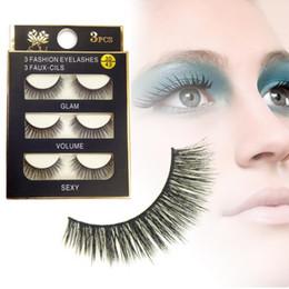 sexy false eyelashes Australia - 3D false eyelashes 3 Pairs lot Sexy 100% Handmade Thick Long False Eyelashes Fake Eye Lashes Eyelash High Quality