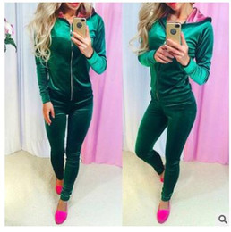 velour suits sale NZ - Hot sale of European and American foreign trade new women's long sleeved suit for leisure two pieces