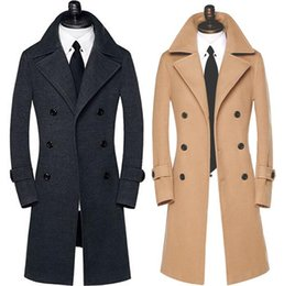 be652b7a934 Khaki casual long woolen coat men Double-breasted trench coats long sleeves overcoat  mens cashmere coat casaco masculino 9XL 795