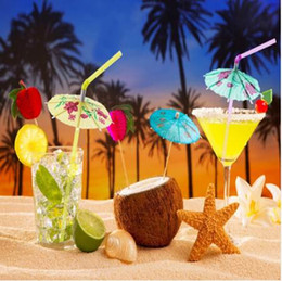 umbrella packing UK - 50pcs pack Mixed Color Tropical Umbrella Parasol Cocktail Straws Disposable Bendable Drinking Straws for Party Wedding 976424