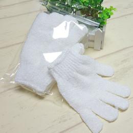 Großhandel White Nylon Körperreinigung Duschhandschuhe Peeling Badhandschuh Flexible Free Size Five Fingers Badhandschuhe Badezimmerzubehör DDA584