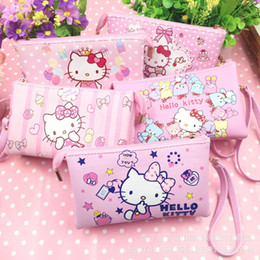 hello wallets NZ - Cute Cartoon Hello Kitty pu Leather Coin Purses Girl Wallet Women Clutch Purse Key Bags Storage Pouch Cosmetic Bag Card Holader