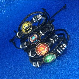 Wholesale Harry Book Hogwarts Gryffindor Slytherin Hufflepuff Ravenclaw Abzeichen Armbänder Multilayer Wrap Armband Glas Cabochon Schmuck Potter Drop