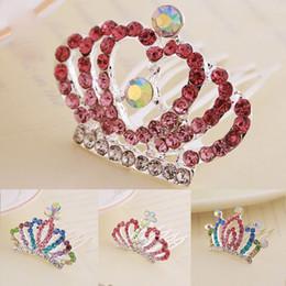 Discount pink crown headband - Pricess Crystal Crown Headbands Hair Band Hair Comb Fashion Kids Birthday Hair Accessories Gift Drop Shipping
