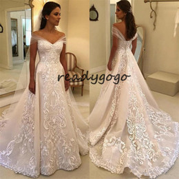 Vintage Wedding Dress Tulle Shoulder Wrap NZ - Vintage Lace Applique A-line Wedding Dresses 2018 Retro 3D Detail Off Shoulder Sweep Train Dubai Arabic Plus Size Church Wedding Gown
