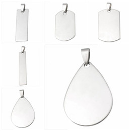 online shopping LASPERAL Multi Shape Stainless Steel Pendant Lettering Charms Stamping Blanks Dog Tag Necklaces Pendants DIY Findings