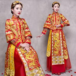 phoenix clothes 2020 - Bride Cheongsam Vintage Chinese Style Wedding Dress Retro Toast Clothing Lady Embroidery Phoenix Gown Marriage Qipao red