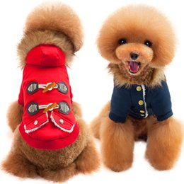 Free Style Clothes NZ - Vintage Pirate Style Clothes Coat Thick Warm Cowboy Button Clothing Buckle Padded Fur Collar Dogs Clothings For Puppy Free Ship
