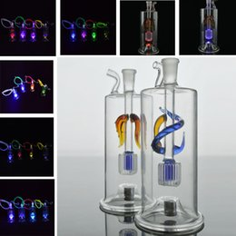 """Lighted Bong NZ - New Bongs Water Pipes with Led Light 5"""" Colorful Drogon Percolator Bong 10mm Joint Portable Bubbler Pipes Outstanding Workmanship Hookahs"""