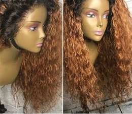 $enCountryForm.capitalKeyWord Australia - Ombre 1b 30# Color Brazilian Human Hair Full Lace Wig Kinky Curly Two Tone Lace Front Wig Glueless Wigs