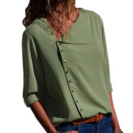 plus size sleeveless blouses collar 2019 - Autumn Three Quarter Buttons Office Blouse Women Summer OL Skew Collar Blusa Femme Casual Loose Tops Sexy Shirts Plus Si