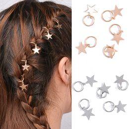 Braided Hair Ring NZ - 10pcs Lady Girls Cute Shiny Silver & Gold Star Hair Rings Braids Plaits Hair Clips Metal Cuffs Decoration Braiding J