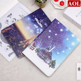 """$enCountryForm.capitalKeyWord Canada - Smart Wake Leather Case For new iPad 2017 2018, air air2, 2 3 4 pro9.7"""" mini Tower Snow Moon Pattern Tablet Cover+Gifts"""