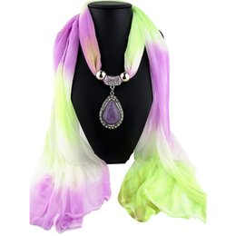 Discount wholesale scarf pendants 2018 scarf jewelry pendants discount wholesale scarf pendants women elegant ethnic pendant necklace scarf gradient color hijab sunscreen shawl for aloadofball Image collections