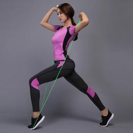 $enCountryForm.capitalKeyWord NZ - Women Yoga Set Gym Fitness Tennis Shirt+Pants Sports Clothing Running Tight Workout Yoga Leggings Sportswear Training Pants