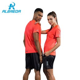 couple sportswear suit 2019 - ALBREDA Couple Clothes New Sport Suit Men Women T-shirts Shorts Jersey Quick drying Tracksuit Jogging Fitness sportswear