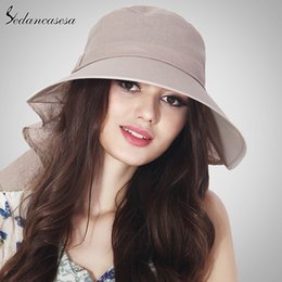 women bow hats Australia - Summer Women Big Brim Cloth Hat Foldable Sun Hat Big Bow Solid Casual WG140982
