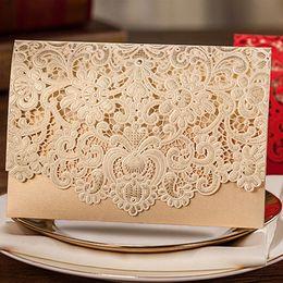 Lace White Invitation Cards NZ - 1pcs Gold Red White Laser Cut Luxury Flora Wedding Invitations Card Elegant Lace Favor Envelopes Wedding Party Decoration