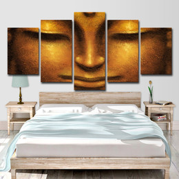 Painting Faces Australia - Modern Pictures Canvas HD Prints Living Room Wall Art Poster Decor 5 Pieces Creative Face Of Golden Buddha Painting