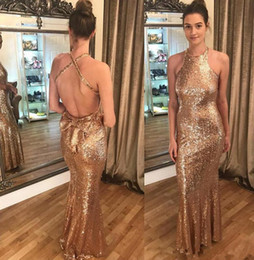$enCountryForm.capitalKeyWord Australia - Sparkling Gold Sequined Mermaid Long Prom Dresses Sexy Criss Cross Backless Maid of Honor Dress Formal Evening Party Gowns Cheap