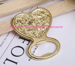 Graduation Card Maker Australia - (25 Pieces lot) Wedding gifts for guests of Gold Glitter Heart shaped Bottle Opener Wedding Favors for gold wedding souvenirs