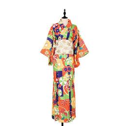 aff716e78a Japanese Kimono with obi Cosplay Costume Traditional Bathrobes Japan Kimono  Flower Yukata Women Bath Robe Floral Sleepwear 10180