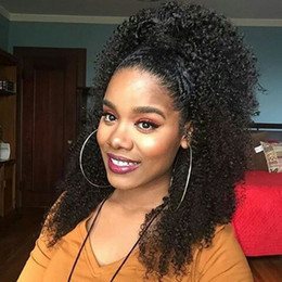 natural jet black color hair NZ - Jet black 3c 4b afro kinky curly human hair ponytail hair extension 160g natural big puff drawstring ponytail clip in