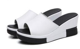 2a8c82640d84 Women Sandals 2018 Summer Genuine Leather Shoes Woman Flip Flops Wedges  Fashion Platform Female Slides Ladies Shoes Peep Toe nx2a44