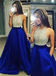 sexy teens pictures NZ - Royal Blue Ball Gown Prom Dresses 2018 Sexy Jewel Long Prom Dresses Evening Gowns With Sparkly Beaded Bodice For Teens From