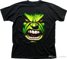 2018 Nova Marca de Moda Roupas de Design Camiseta O Incrível Hulk Rosto preto impresso t-shirt FN9416 O-pescoço Streetwear Tees venda por atacado