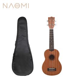 Wholesale NAOMI 21'' Ukelele Soprano Sapele Hawaii Guitar Mahogany 12 Fret Uke Kit W Gig Bag New