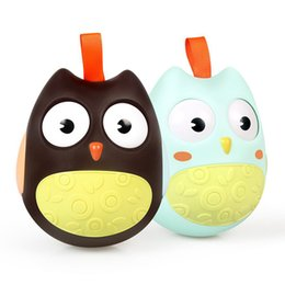 moving dolls toys UK - Baby Toys Nodding Moving Eyes Owl Doll Baby Rattles Gifts Baby Roly Poly Tumbler Toy With Bell Toys For Children