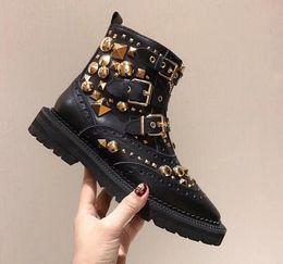 Cowhide Martin Boots Australia - Fashion Cowhide Genuine Leather Woman Punk Martin Platform Boots Gold Rivet Belt Buckle Motorcycle boots size 35 ~ 40