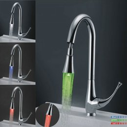 Red Pull Handles NZ - Red blue green LED kitchen faucet Single handle hole kitchen faucet Copper Free shipping BR-119
