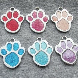 zinc alloy tags NZ - 100pcs lot Zinc Alloy Paw Shaped Pet Dog ID Tags Blank Paw Dog Tags 6 colors
