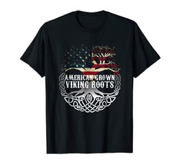 vikings shirt UK - American Grown - Viking Roots T Shirt American Flag Tree Tee