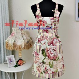 Discount lace aprons - by dhl or ems 200 pieces fashion new Women Restaurant Home Kitchen apron Flower Printed Pocket Lace Cooking Cotton Apron