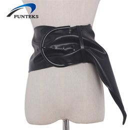 $enCountryForm.capitalKeyWord Canada - FUNTEKS Big Pin Buckle Wide Belt for Women High Quality Soft PU Strap Women's Adjustable Dress Girdle Female Waist Decoration