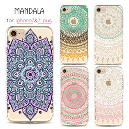 Free Cellphone Cases Australia - For iPhone 7 7 Plus Case Clear Soft TPU Cover Totems Floral Mandara Pattern Cases Bohemia For iPhone 6 6s plus 5 5s Cellphone Shell Free DHL