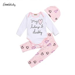 kids stylish clothing 2018 - fashion New Tollder Kid Baby Clothing Girl Love Print Long Sleeve Romper Tops+Pants Hat Outfit Set Sweet Lovely stylish