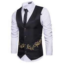Discount fashion gilet mens - Gold Print Men Suit Vest Gilet Homme Costume 2017 Fashion Slim Fit Men Waistcoat Colete Casual Business Wedding Mens Dre