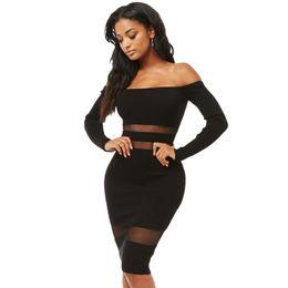 $enCountryForm.capitalKeyWord UK - NEW Mesh Bodycon Club Dresses Women Sexy Off Shoulder Slash Neck Long Sleeve Sheath Party Dresses Outfits