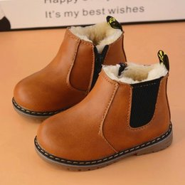 Wholesale China Winter Kids Boots Zipper Leather Ankle Short Thick Warm Shoes Boots Boys Girls Black Gray Brown EU