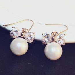 $enCountryForm.capitalKeyWord NZ - Elegant Zircon Bowknot Pearl Earrings Sweet Drop Dangle Earrings Korean Fashion Jewelry Women Accessories Vintage brincos grandes boucle d'o