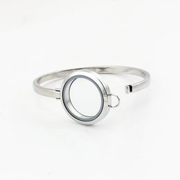 $enCountryForm.capitalKeyWord Australia - Hot Sale Design 7inch Silver Plain 316L Stainless Steel Floating Locket Bangles Bracelets 30mm Free Shipping