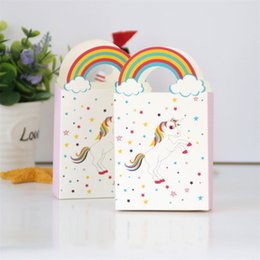 Discount anniversary party favors - Portable Paper Handbag Jewelry Wedding Favors Party Gift Bags Unicorn Candies Holders Boxes Anniversary Birthday Shower